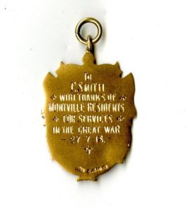 Montville Medallion presented to Charles Stanley Smith's brother 27 July 1918