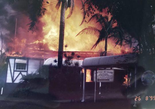 Fire destroyed Montville Art Gallery 26 August 1999