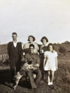 The Manley Family on their farm: Kev, Doreen, Nell, Ernie, Dell, and Bob the Second
