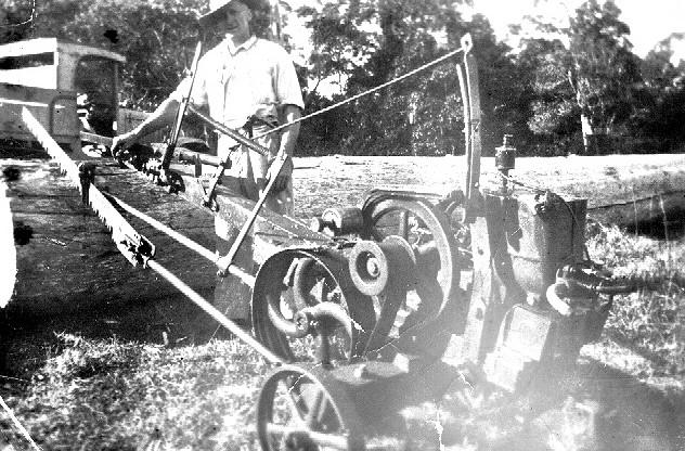 Bob Wyer with drag saw, 1946