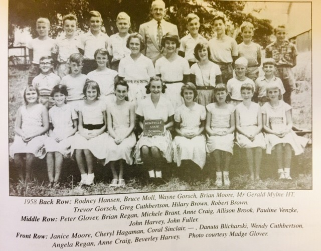Brian Moore, Back row, 4th boy from left and Janice Moore Front row, first girl on left